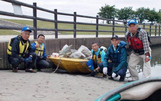 金明町ガマ自生地の大掃除 母船式ゴミ拾い
