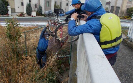 緊急事態宣言2週間延長 宮代橋/5名5袋 自転車1台